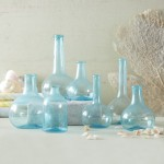 Set of 7 aquamarine bottles Burke Decor